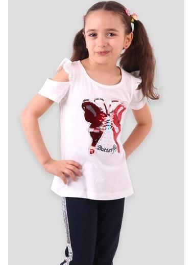 Breeze Kız Çocuk Taytlı Takım Pullu Kelebek Pullu Ekru (4-9 Yaş) Ekru